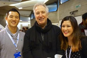 Alan Rickman with Saving Faces staff at the launch of NFORC in November 2014